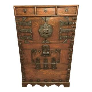 1870 Antique Korean Wooden Chest For Sale
