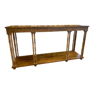 Baker Burled Walnut Faux Bamboo Console Table For Sale