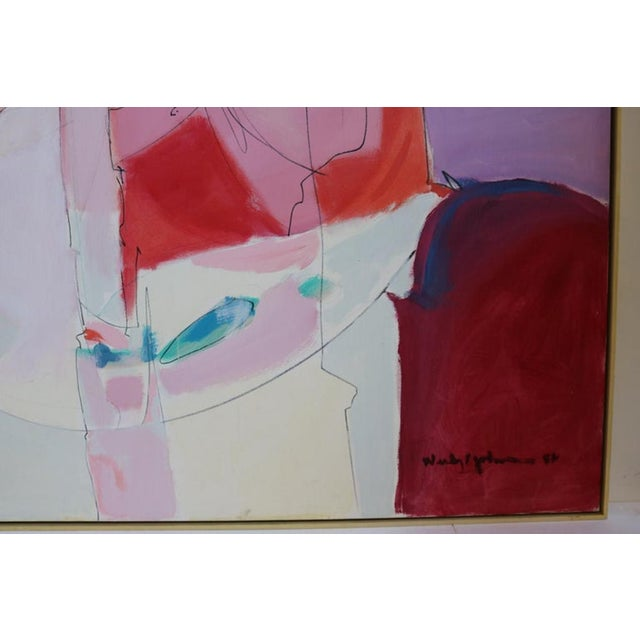 Blue Huge Wesley Johnson Abstract Oil Painting in Variation of Pink For Sale - Image 8 of 9