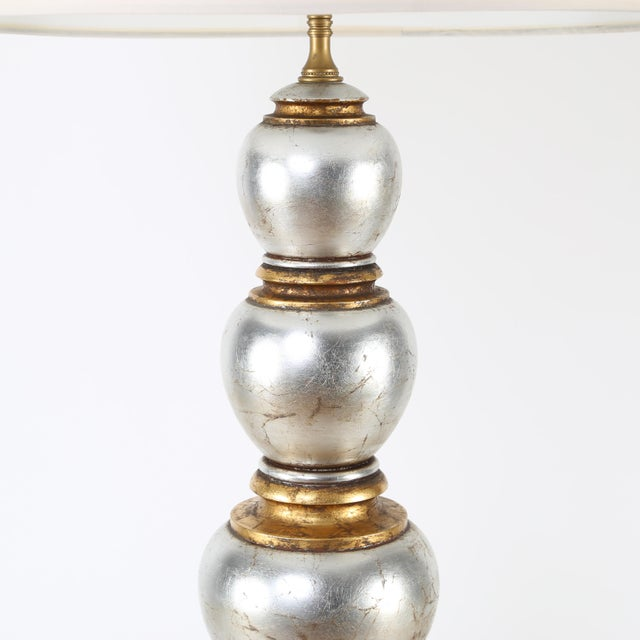 Hollywood Regency Glamorous Silver and Gold Leaf Table Lamp by Frederick Cooper Studios, Circa 1940s For Sale - Image 3 of 8