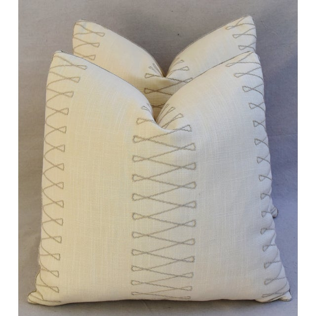 "Designer Old World Weavers Cuba Libre Feather/Down Pillows 20"" Square - Pair For Sale In Los Angeles - Image 6 of 8"