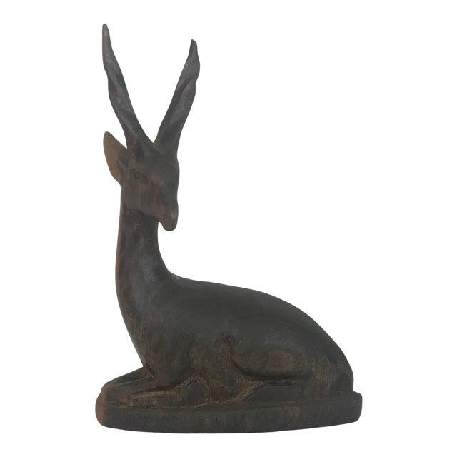 Vintage Mid-Century Wood Antelope Figurine For Sale