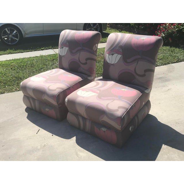Wood Pair of Jack Lenor Larsen Style Chairs For Sale - Image 7 of 10