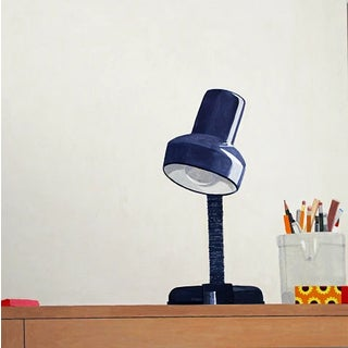 "Sydney Licht ""Still Life With Lamp"", 2018 Colorful Still Life Painting on Canvas For Sale"
