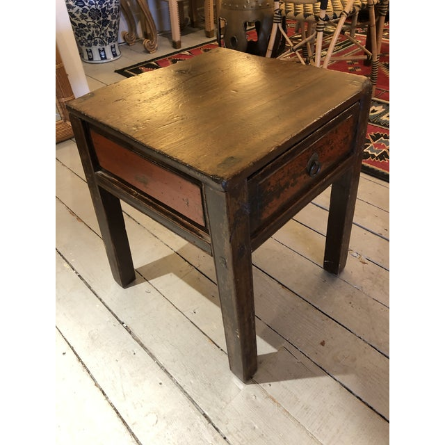 Antique Chinese Rustic Wood End Table With Single Drawer For Sale - Image 10 of 12