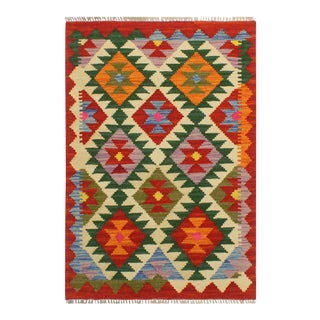 "1990s Tribal Turkish Kilim Maya Rust/Green Hand-Woven Rug 2'1"" X 2'11"" For Sale"