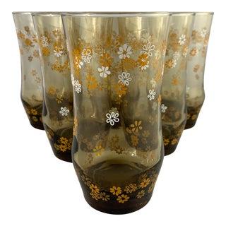 Vintage Libbey Strawflower Pattern Glassware - Set of 6 For Sale