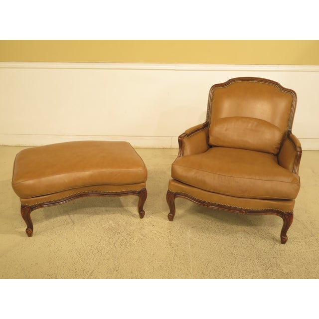 French Louis XV Style Leather Lounge Chair & Ottoman - A Pair - Image 2 of 13