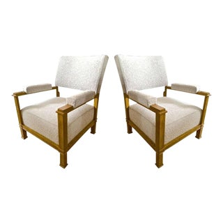 Andre Arbus Pair of Neo-Classic Oak Chairs, Newly Covered in Maharam Bouclé For Sale