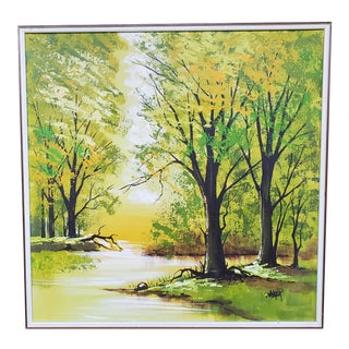 Mid 20th Century Forest Landscape Oil Painting In the Style of Lee Reynolds, Framed For Sale