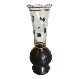 Black & White Glass Vase For Sale