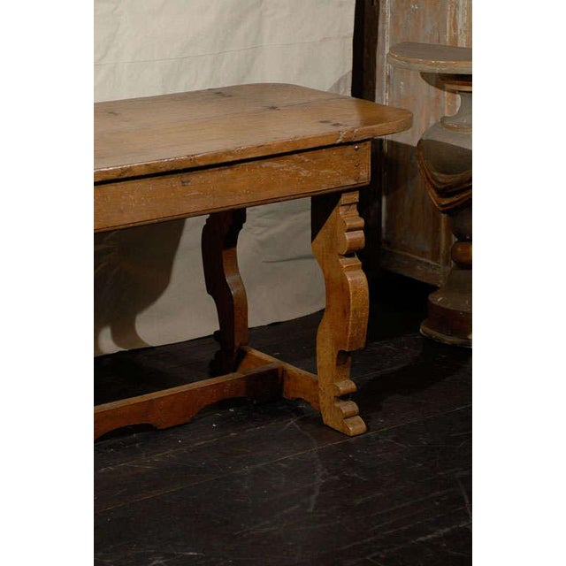 Italian 18th Century Trestle Farm Table With Lyre Shaped Legs For Sale - Image 4 of 10
