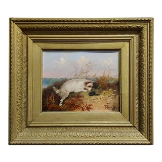 Terrier in Action 19th Century English Oil Painting For Sale