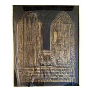 Vintage Paper and Gilt Rubbing, Artwork - Westminster For Sale