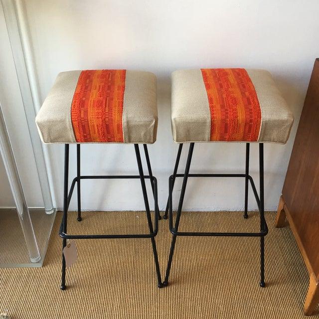 1950s Orange Striped Barstools - A Pair - Image 2 of 9