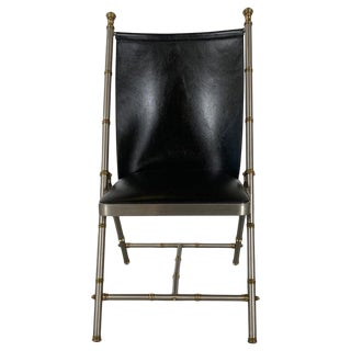 1960s Vintage Brushed Steel and Brass Campaign Style Chair For Sale