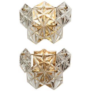 1960s Kinkeldey Faceted Crystal Sconces - a Pair For Sale