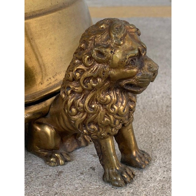 Antique English Brass and Mahogany Lion Motif Pub Table For Sale - Image 4 of 10