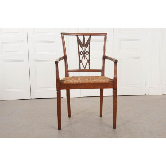French 19th Century Louis XVI Style Rush-Seat Armchair For Sale - Image 4 of 9