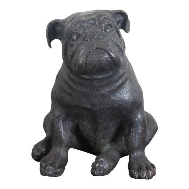 Theodore Alexander Seated British Bulldog Pug Dog Bronze Sculpture For Sale