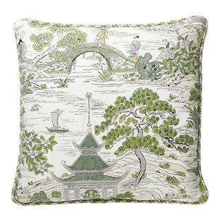 Satomi Hand Block Print Pillow with Trim in Green For Sale
