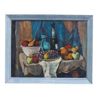 Fauvist Style Still Life on Canvas 1954, Signed C. Samet For Sale
