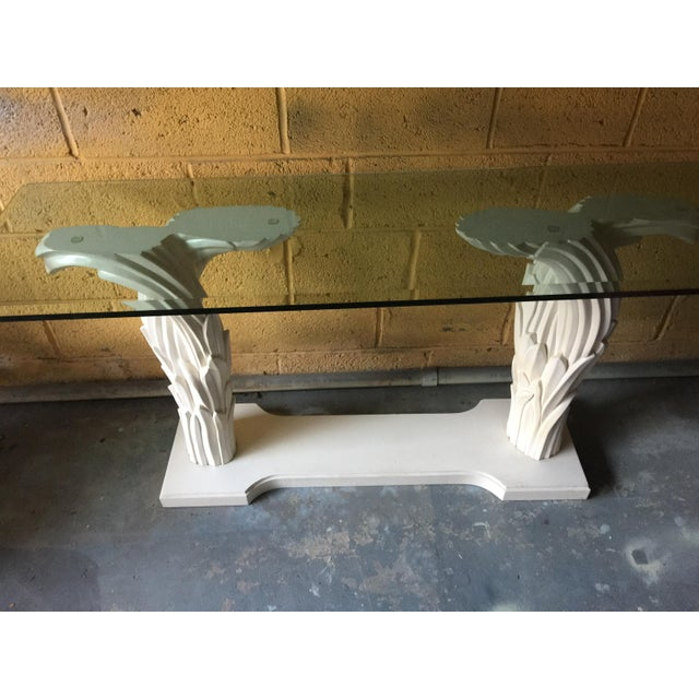1980s 1980s Hollywood Regency Palm Leaf Console Table For Sale - Image 5 of 13
