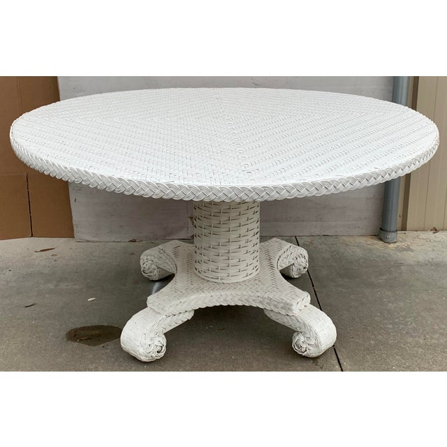 Wicker Large Round Wicker Pedestal Dining Table For Sale - Image 7 of 8