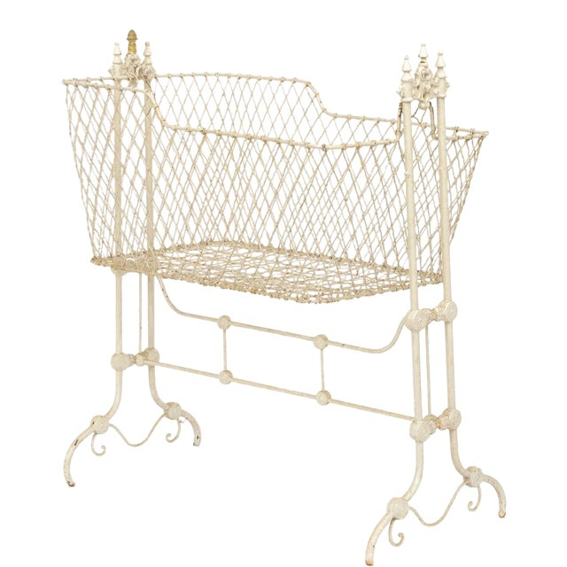 Antique Victorian Painted Wrought Wire and Cast Iron Swinging Cradle For Sale