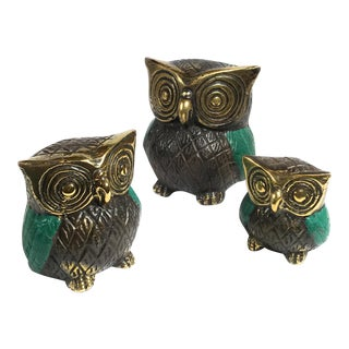 Bronze Owl Figurines - Set of 3