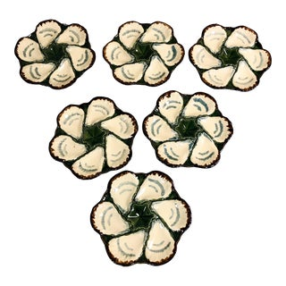 Set of 6 French Majolica Oyster Plates For Sale