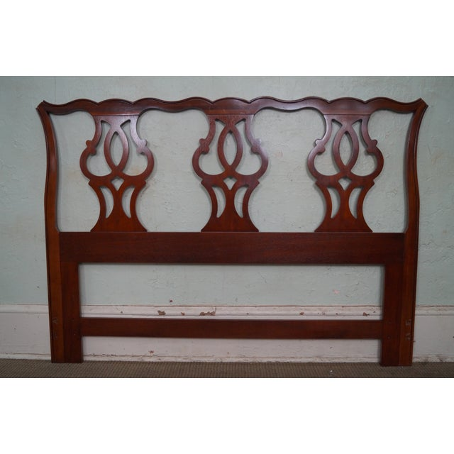 Store Item #: 15077 Drexel Heritage Queen Size Cherry Chippendale Style Headboard AGE/COUNTRY OF ORIGIN: Approx 25 years,...