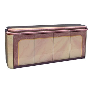 1980s Art Deco Pink Lacquer Faux Marble and Brass Credenza For Sale