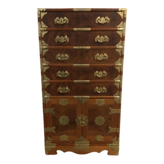20th Century Asian Campaign Wooden Cabinet For Sale