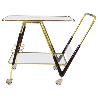 1950s Outstanding Bar Cart, Polished Brass and Solid Mahogany, Wheels - Italy For Sale