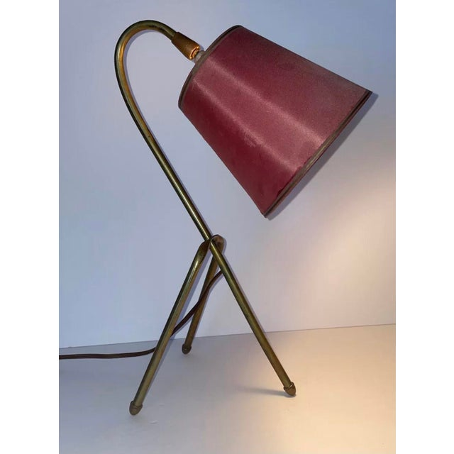 """Mid 20th Century Mid 20th Century French """"Cocotte"""" Style Brass Tripod Lamp With Original Shade For Sale - Image 5 of 5"""