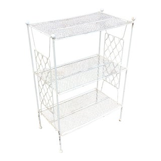 Vintage Mid Century Modern 3 Tier Metal White Plant Stand For Sale