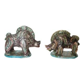 Pair of Gambone Ceramic Boars For Sale