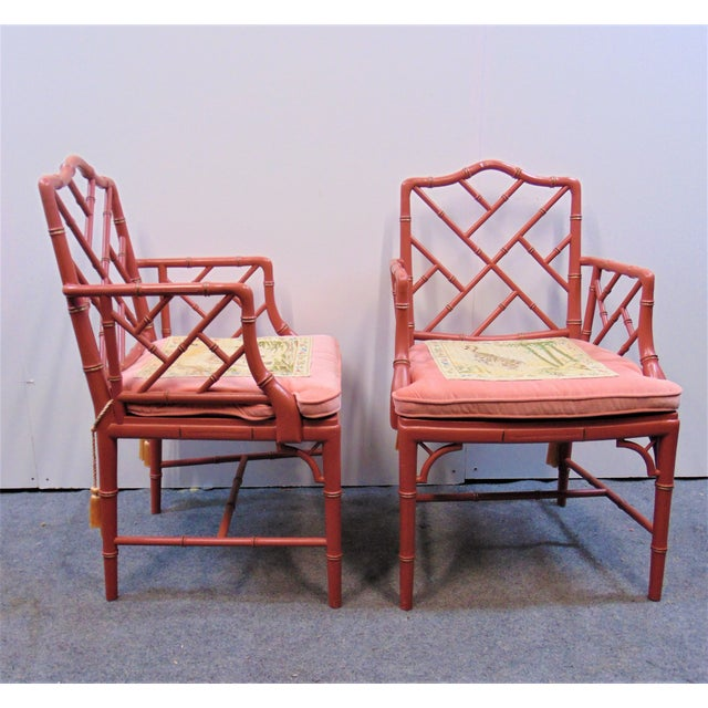 Mid 20th Century Regency Faux Bamboo Rose Arm Chairs - a Pair For Sale - Image 4 of 9