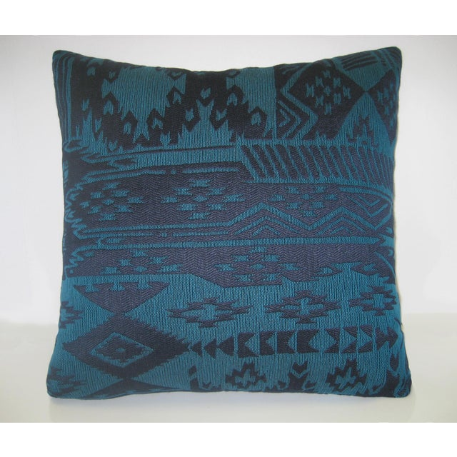 Blue beautiful vintage Turkish Kilim pillow. Great geometic design in muted tones. The cover is removable and has a...