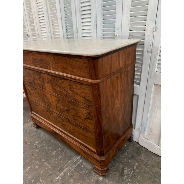 Metal 19th Century French Louis Philippe Bookmatched Commode With Marble Top For Sale - Image 7 of 12