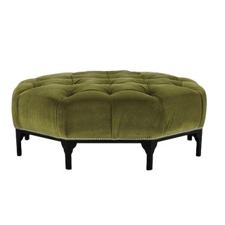 Modern Henredon Green Astor Court Ottoman For Sale