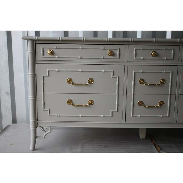 Paint Professionally Lacquered Vintage Thomasville Allegro Faux Bamboo Chinoiserie Dresser For Sale - Image 7 of 11