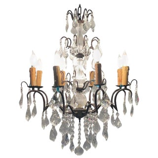 Copper Designed Metal and Crystal Chandelier With Centre Cut Glass Column For Sale