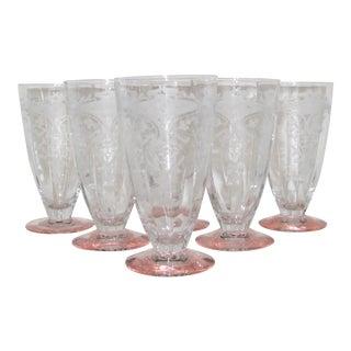 Vintage Etched Glasses, Set of 6 For Sale