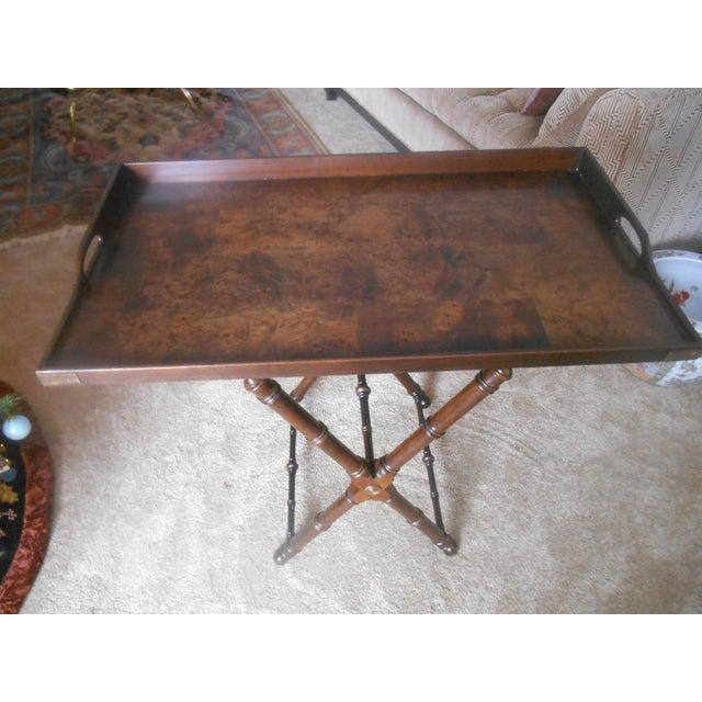 Knob Creek Burl Walnut Tea Tray Table - Image 2 of 7