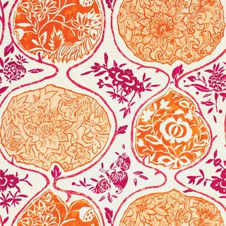 Schumacher Katsugi Wallpaper in Tangerine & Berry For Sale