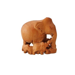 Carved Wood Elephant Family Figurine For Sale