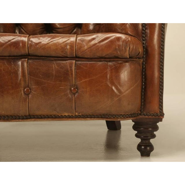 Original Leather Antique Chesterfield Chair For Sale - Image 4 of 11