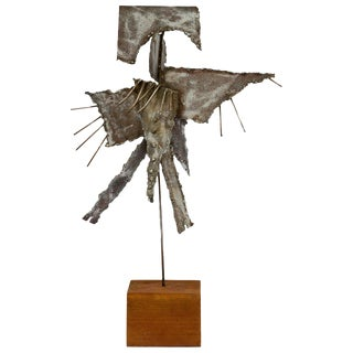 Brutalist Metal Sculpture on Base For Sale